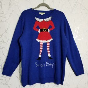 Blue Acrylic Christmas Theme Sweater Santa's Baby